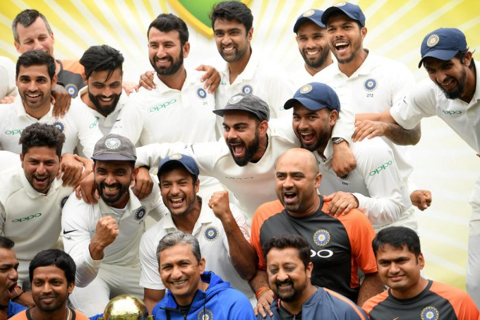 The Indian team celebrates a 2-1 series victory over Australia following play being abandoned on day five in the fourth test match between Australia and India at the SCG in Sydney, Australia, January 7, 2019. REUTERS photo