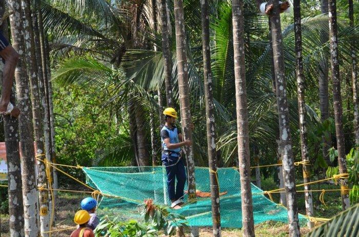 Youth undergo training in arecanut tree climbing at CPCRI in Vittal.