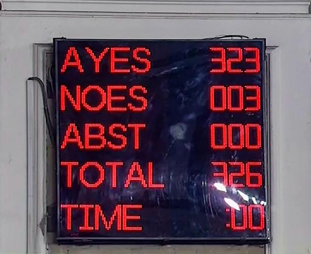 A screen displays the results of voting on the bill to provide 10 per cent reservation in jobs and educational institutions to economically backward section in the general category, in Lok Sabha in New Delhi, Tuesday, Jan 8 2019. (LSTV grab via PTI)