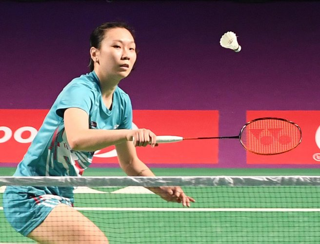 IN CONTROL Beiwen Zhang of Awadhe Warriors returns during her win over Saina Newhal of North Eastern Warriors. DH PHOTO/SRIKANTA SHARMA R