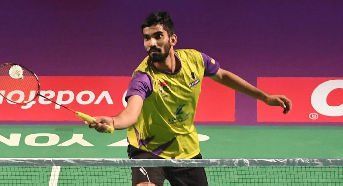 IN CONTROL: Kidambi Srikanth of Bengaluru Raptors in action against Anders Antonsen of Mumbai Rockets in the Premier Badminton League in Bengaluru on Tuesday. DH PHOTO/ SRIKANTA SHARMA R