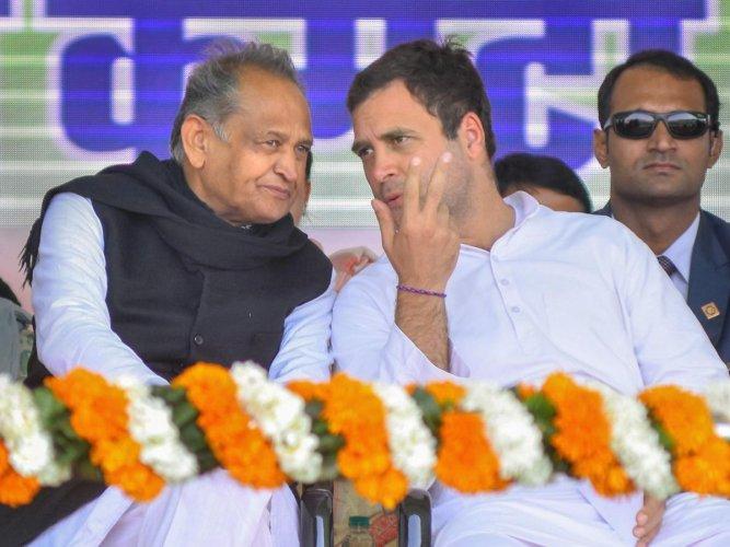 Congress president Rahul Gandhi and Rajasthan Chief Minister Ashok Gehlot during the kisan rally at Vidyadhar Nagar ground, in Jaipur on Wednesday. PTI