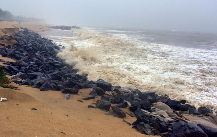 A file photo of the sea erosion at Mogaveer Patna in Ullal.