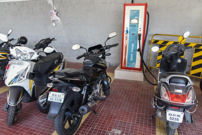 The electric vehicle charging station at the Vidhana Soudha is now a parking lot. It has hardly been used since being opened two months ago. DH PHOTO/S K DINESH