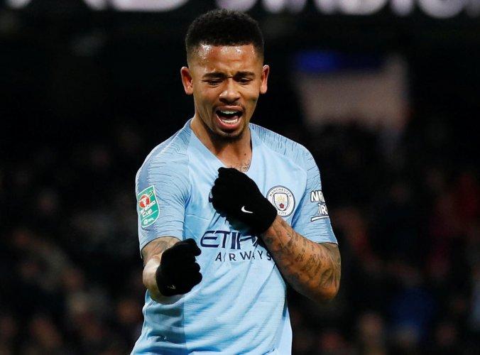 Manchester City's Gabriel Jesus celebrates after completing his hat-trick against Burton Albion. Reuters
