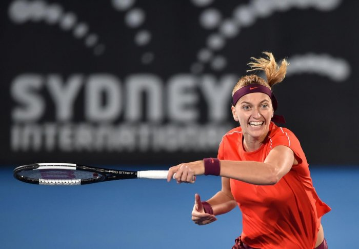 FIERCE: Petra Kvitova of the Czech Republic returns during her straight sets win over Angelique Kerber of Germany. AFP
