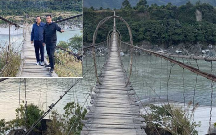 Arunachal Pradesh chief minister Pema Khandu inaugurated the 300-meter long bridge at Yingkiong, the headquarters of Upper Siang district, situated about 400-km from the state capital Itanagar. (Twitter/@PemaKhanduBJP)