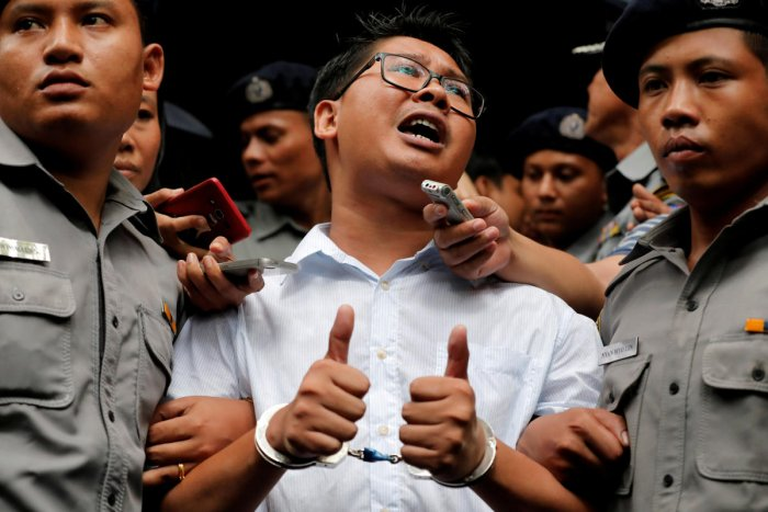 Reporters Wa Lone, 32, and Kyaw Soe Oo, 28, were arrested in Yangon in December 2017 and later jailed for violating the state secrets act, a charge Reuters said was trumped up to muzzle their reporting. Reuters file photo.