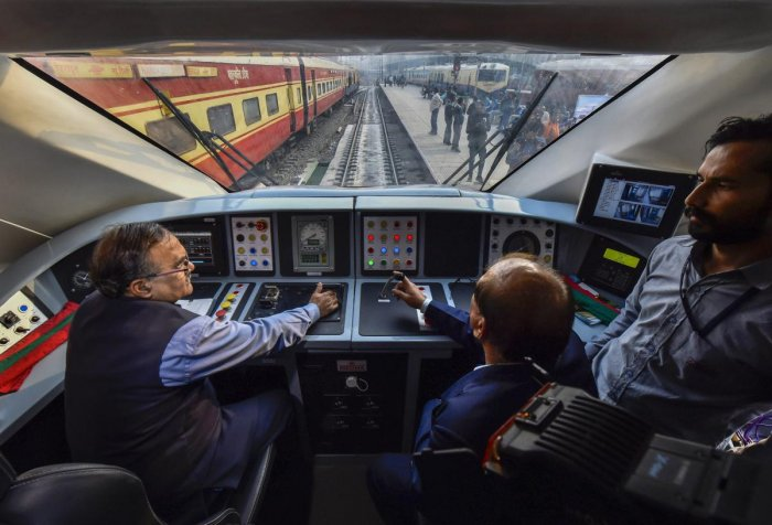 Cockpit of the country's fastest T-18 train, scheduled to run between New Delhi and Varanasi railway stations at New Delhi Railway Station on Wednesday. PTI