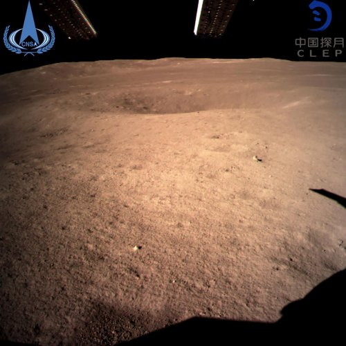 """This handout picture taken by the Chang'e-4 probe and released to AFP by China National Space Administration on January 3, 2019 shows an image of the """"dark side"""" of the moon."""