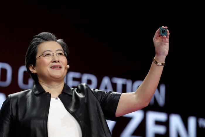 Lisa Su, president and CEO of AMD, holds up a 3rd generation Ryzen desktop processor during a keynote address at the 2019 CES in Las Vegas. Reuters
