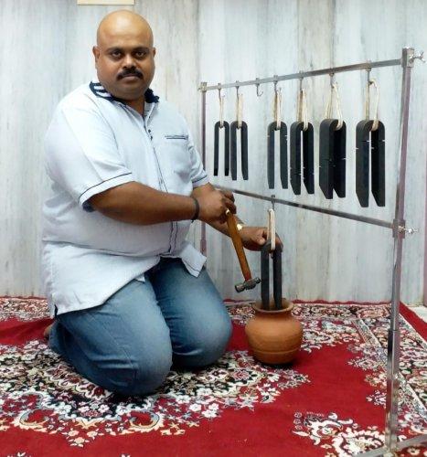 Rajashekar Veerabrahmachar and his tuning forks.