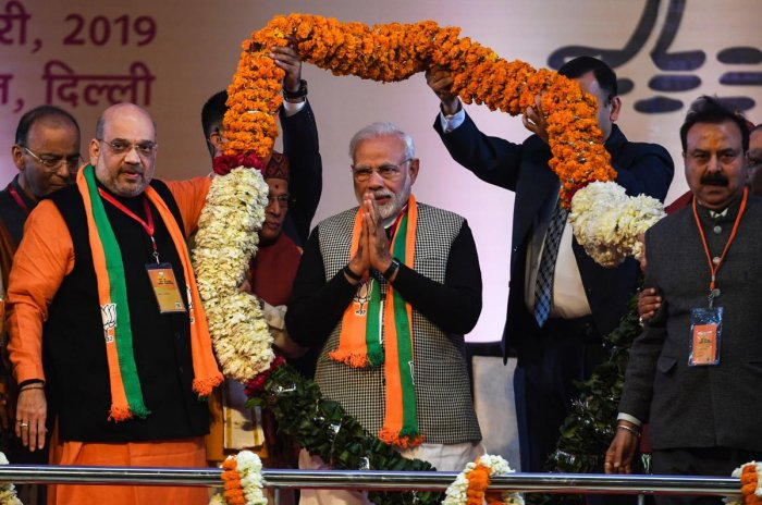 Addressing the BJP's National Convention at the Ramlila Maidan here, Modi said for the first time in the country's history, there has not been any charge of corruption against a government. (PTI Photo)