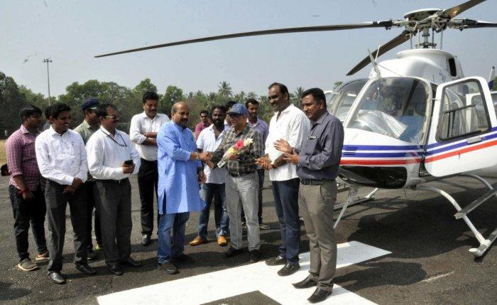 MLA Raghupathi Bhat launches Heli Tourism at Adi Udupi on Friday.