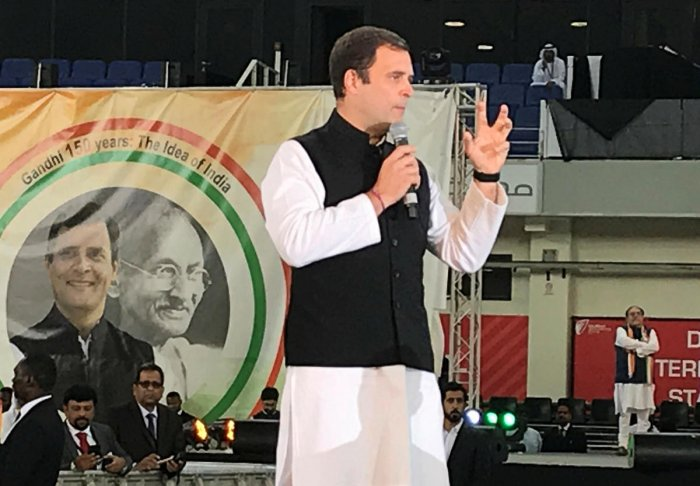 Rahul Gandhi, president of Congress Party, speaks at a rally ahead of October's 150th birth anniversary of Mahatma Gandhi, in Dubai. Reuters
