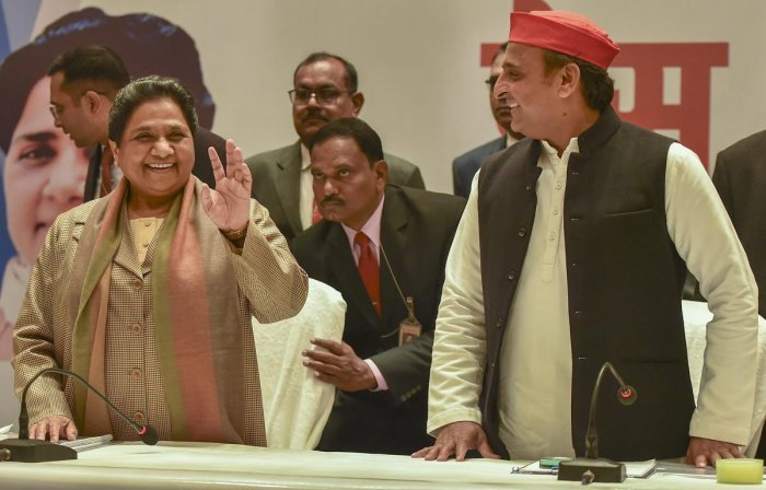 BSP supremo Mayawati and Samajwadi Party chief Akhilesh Yadav during a joint press conference in Lucknow. PTI