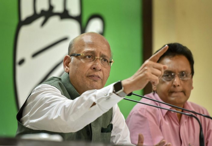 """""""We seek the removal, the departure, the exit of the collaborator for violating the Constitution, the CVC. He must go. It is irrelevant whether he resigns or is sacked, but he must go,"""" Congress spokesperson Abhishek Manu Singhvi told reporters here. PTI file photo"""