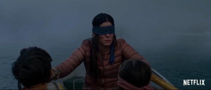 The apocalyptic Sandra Bullock thriller on Netflix is causing many viewers to take up the #BirdBoxChallenge and go about their daily activities blindfolded.