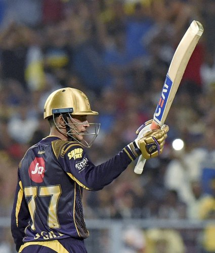 Kolkata Knight Riders' Shubman Gill celebrates his half-century against Chennai Super Kings. PTI