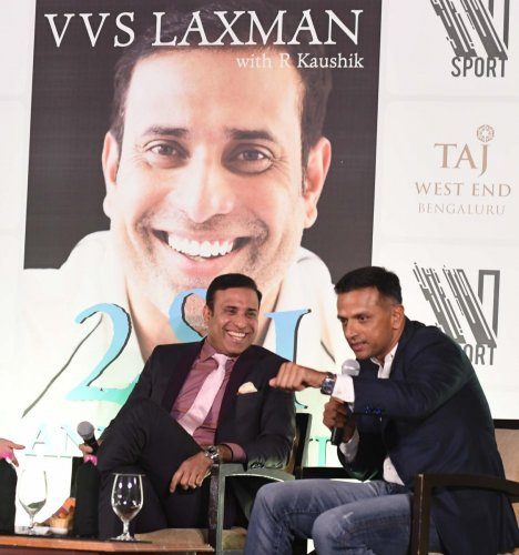 Rahul Dravid speaks at the launch of VVS Laxman's autobiography in Bengaluru on Thursday. DH PHOTO/ SRIKANTA SHARMA R