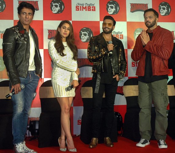 Bollywood actors Ranveer Singh, Sarah Ali Khan, Sonu Sood and filmmaker Rohit Shetty during a promotional event for their film Simmba in Mumbai, Wednesday, Dec 26, 2018. (PTI Photo)