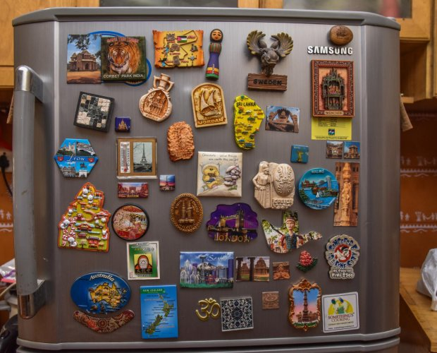 Fridge magnets from different parts of the world.