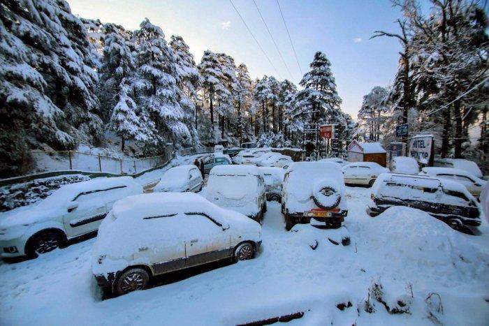 Snow-covered vehicles parked near the Jammu-Srinagar national highway, at Patnitop, about 115 km from Jammu, Sunday, Jan 13, 2019. (PTI Photo)