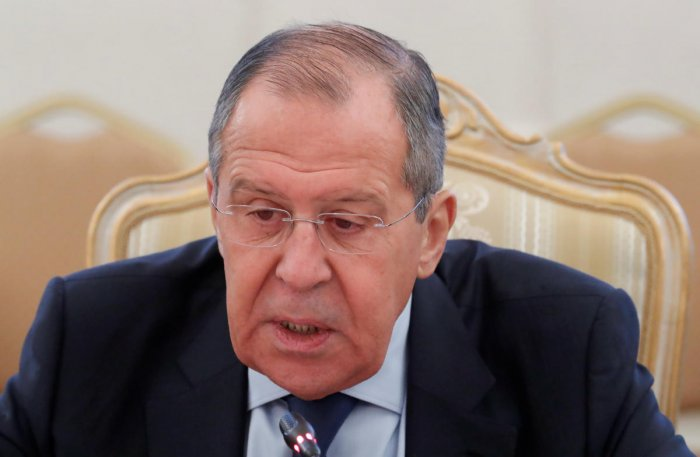 Russian Foreign Minister Sergei Lavrov speaks during a meeting with his Japanese counterpart Taro Kono in Moscow, Russia. Reuters