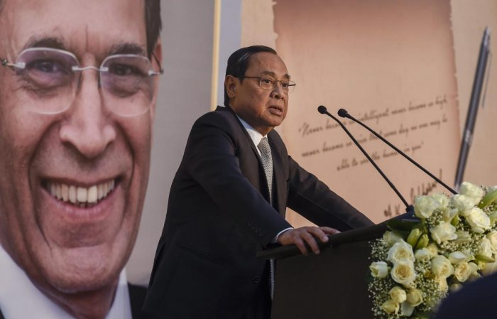 Chief Justice of India Ranjan Gogoi speaks during a book release in New Delhi on Monday. PTI photo