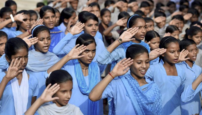 A directive has been issued to 1.22 lakh government schools and more than 35,000 private schools in Madhya Pradesh to ensure that students say 'Jai Hind' during the roll call. PTI file photo