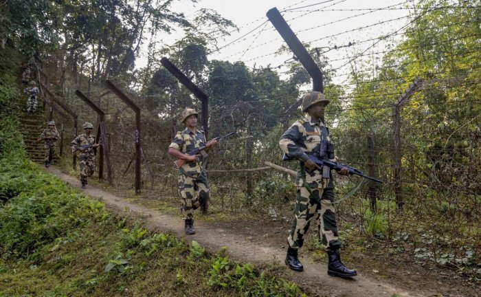 """They said Assistant Commandant Vinay Prasad was hit by a sniper shot at about 10:50 am when he and his patrol party were out for """"carrying out border domination"""" along the IB. (PTI file photo)"""