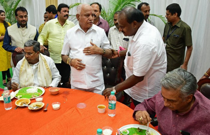 In picture: Former CM Siddaramaiah, BJP state President BS Yeddyurappa, Karnataka CM H D Kumaraswamy. DH file Photo for representation.