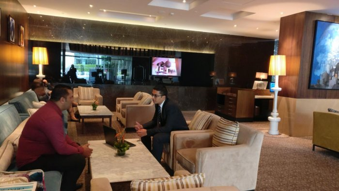 Hilton Bangalore Embassy GolfLinks offers free Wi-Fi to those who order food and drinks.