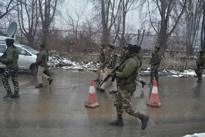 Soon after the attack, security forces cordoned off the area and launched a hunt to nab the attackers. DH Photo