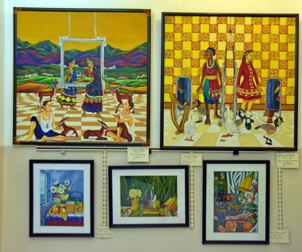 Some of Zena Colaco's paintings that were displayed during the exhibition at Preediv Art Gallery in Mangaluru recently.