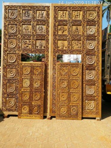 The doors donated to Bhagandeshwara temple in Bhagamandala.