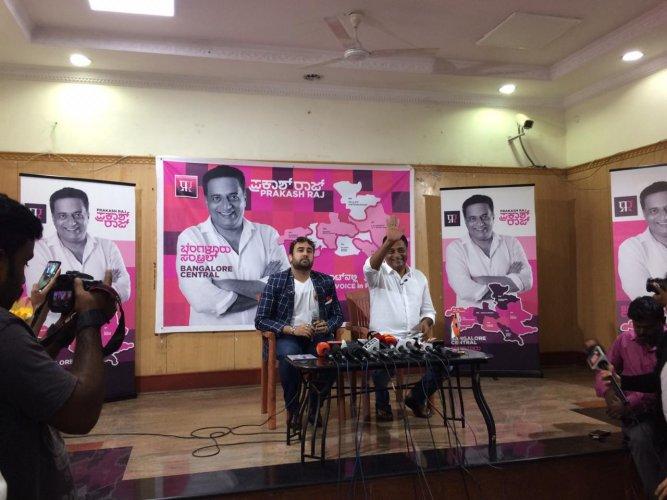 Prakash Raj during the press conference in Bengaluru on Friday. (DH Photo)