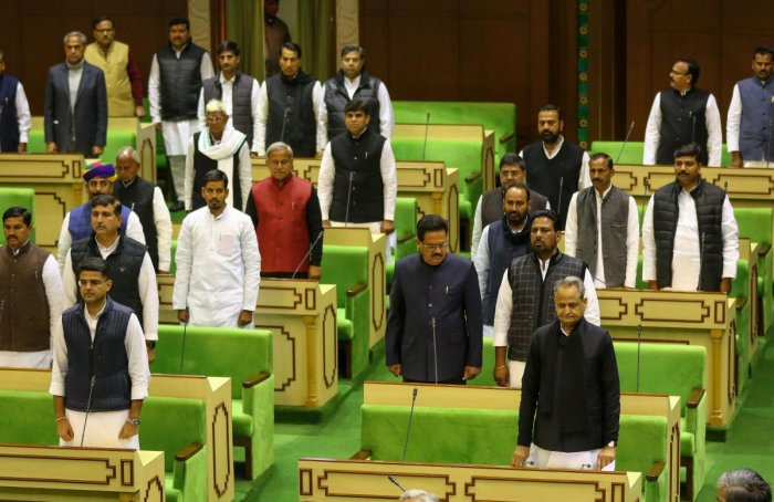 Rajasthan Chief Minister Ashok Gehlot, his deputy Sachin Pilot and other members in the State Assembly in Jaipur. PTI File photo