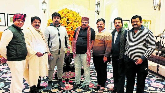 BJP MLAs at ITC Grand Bharat hotel near Gurugram on Thurday. DH PHOTO