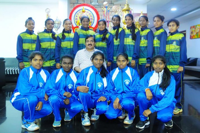 Students of Alva's Education Foundation, who won medals in national events, with Alva's Foundation Chairman Dr M Mohan Alva.