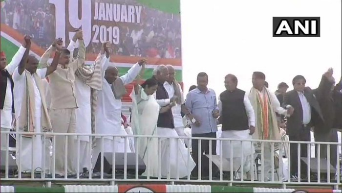 Opposition leaders at TMC led 'United India' rally in Kolkata. ANI photo