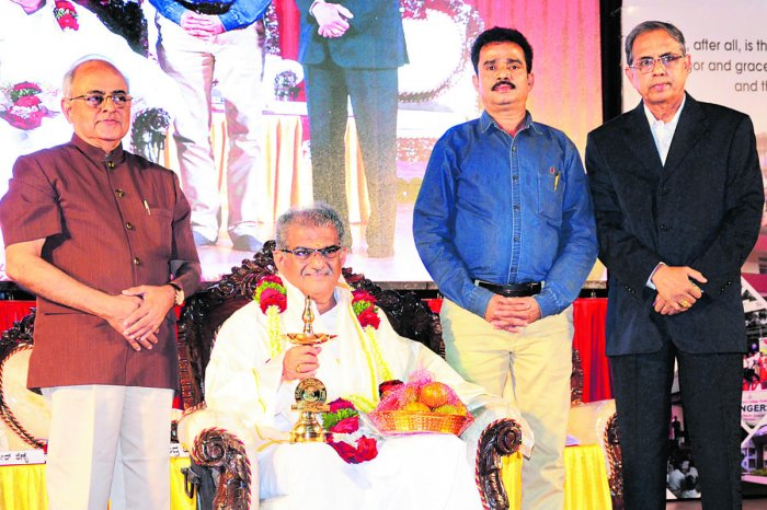Sri Kshetra Dharmasthala Dharmadhikari Dr DVeerendra Heggade was felicitated during the Besant Centenary celebrations organised by Women's National Education Society (WNES)at TMAPai International Convention Centre in Mangaluru on Friday.