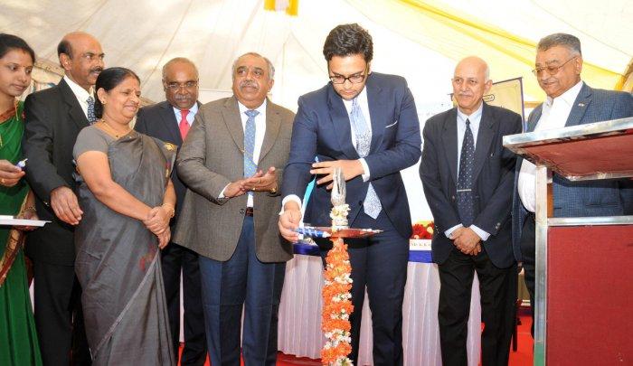 Member of erstwhile royal family of Mysuru, Yaduveer Krishnadatta Chamaraja Wadiyar inaugurates the Schevaran Innovation Center (SIC) annual day and award ceremony, at SIC premises, in Mysuru on Saturday. Former director of CFTRI V Prakash, UoM Vice Chanc