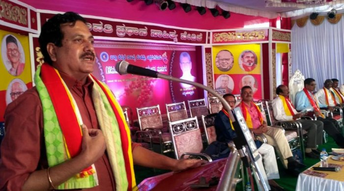 Former MLA Y S V Datta speaks at a session on the second day of the Zilla Kannada Sahitya Sammelana in Mudigere.