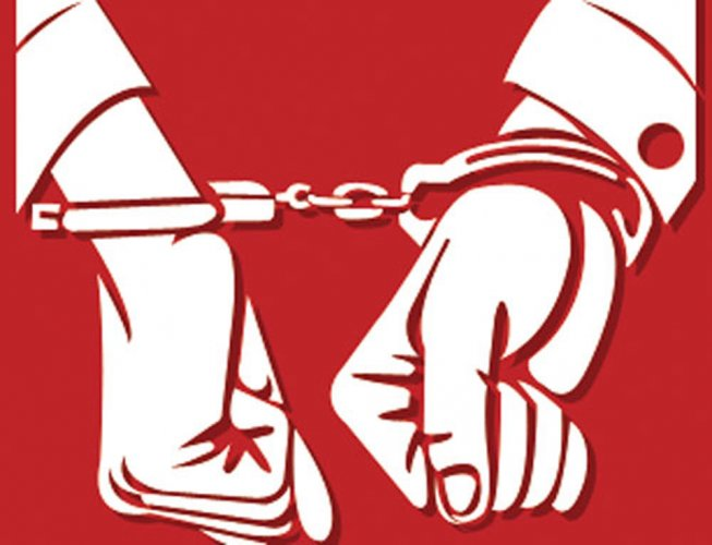 The Basaveshwara Nagar police arrested Shivakumar for assault, outraging a woman's modesty and criminal intimidation.
