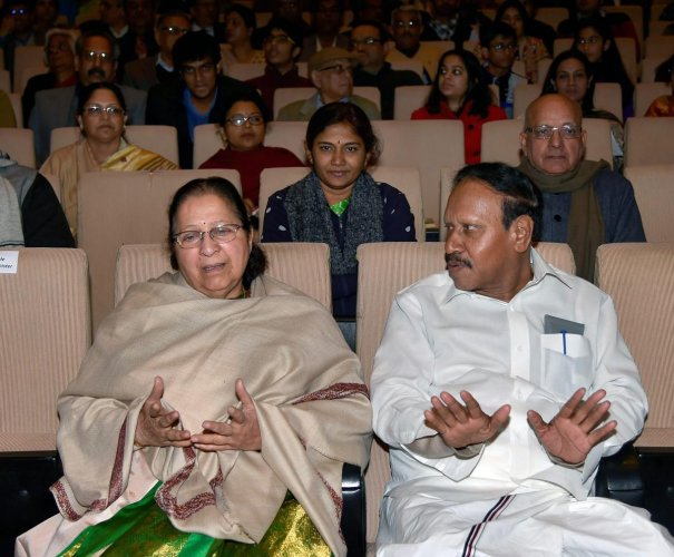 Lok Sabha Speaker Sumitra Mahajan and Deputy Speaker M. Thambidurai during a function in New Delhi. PTI file photo