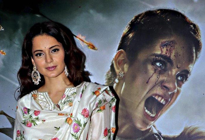 Bollywood actor Kangana Ranaut during the special screening of her upcoming film 'Manikarnika'. PTI Photo