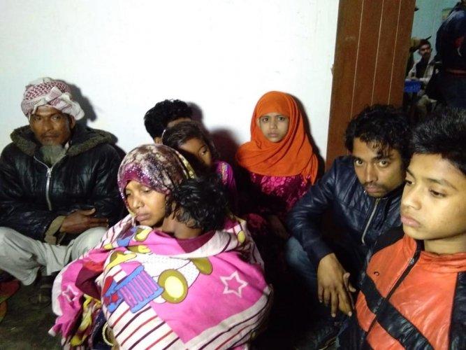 Rohingiya refugees detained in Karimganj in South Assam on Monday. Photo by Pranab Shil, Agartala.