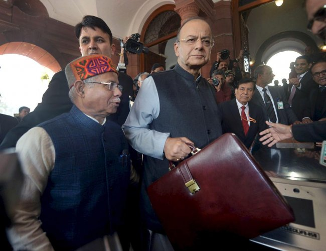 Union Minister for Finance Arun Jaitley arrives at Parliament House to present the Union Budget 2018-19, in New Delhi. (PTI File Photo)