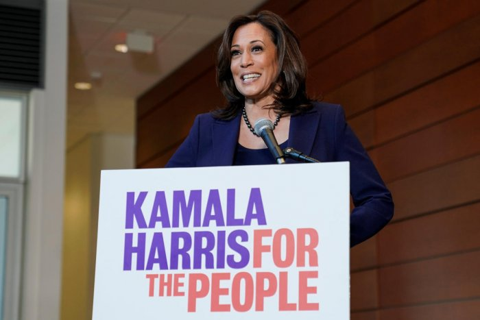 Senator Kamala Harris (D-CA) speaks to the media after announcing she will run for president of the United States at Howard University in Washington, U.S., January 21, 2019. REUTERS